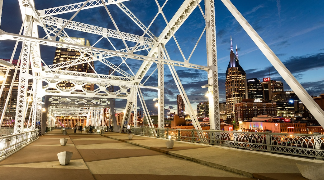 Downtown Nashville featuring night scenes, a bridge and a city