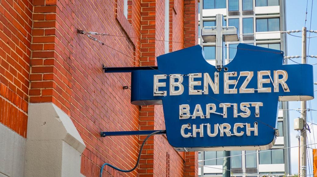 Ebenezer Baptist Church of Atlanta featuring signage