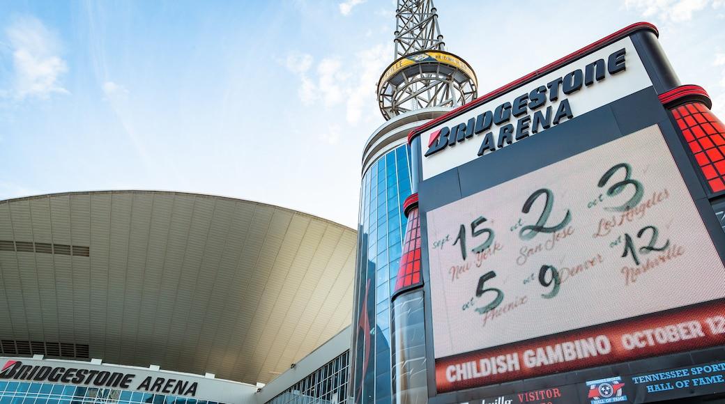 Bridgestone Arena which includes signage and modern architecture