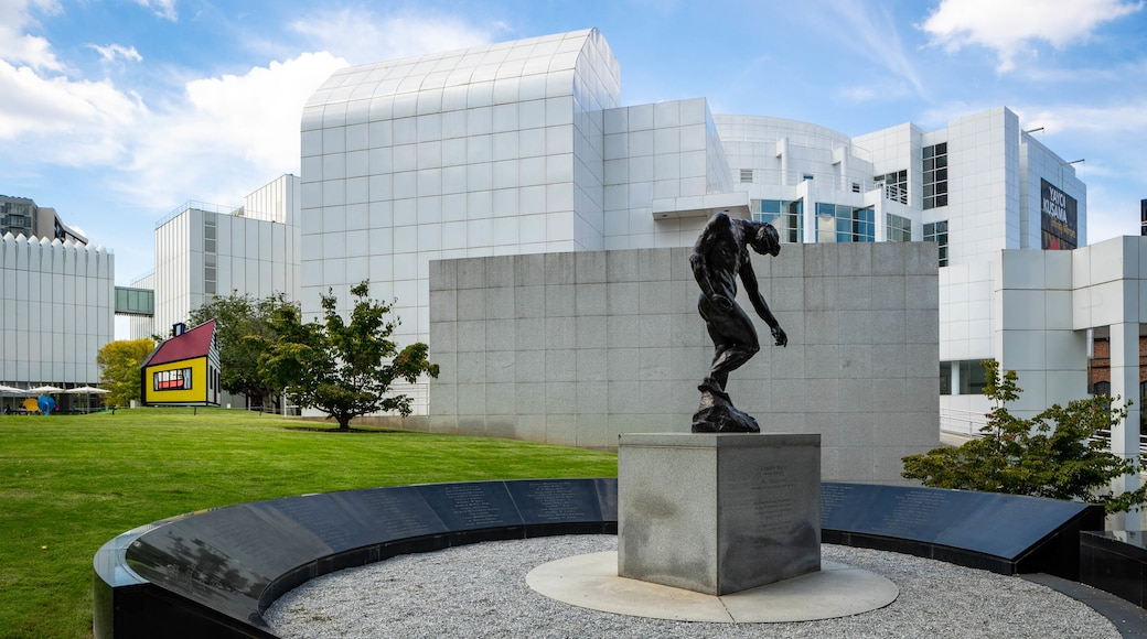 Woodruff Arts Center which includes modern architecture, a statue or sculpture and a garden