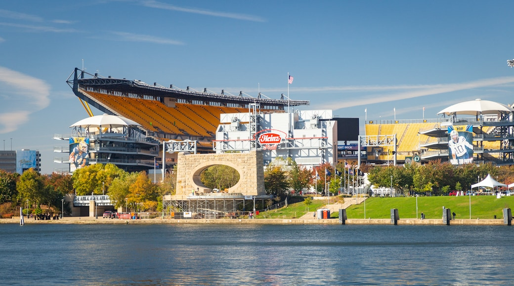 Heinz Field which includes a lake or waterhole