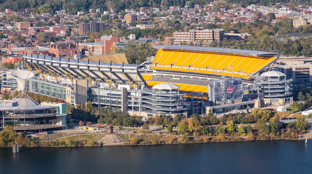 Heinz Field showing a lake or waterhole and landscape views