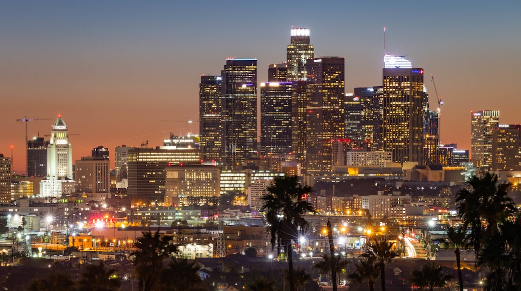 Los Angeles which includes night scenes, a city and landscape views