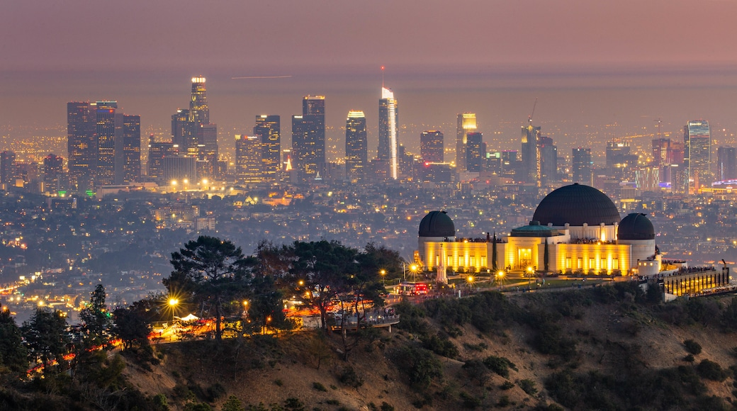 Griffith Observatory featuring a city, landscape views and night scenes