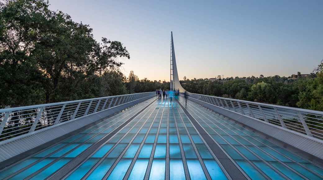 Sundial Bridge featuring a sunset and a bridge