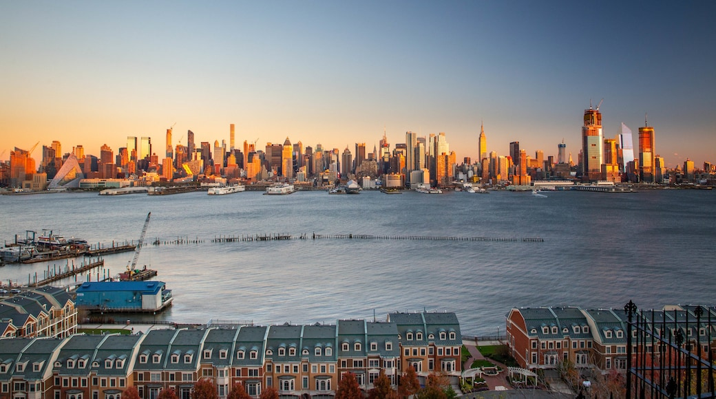 Weehawken which includes landscape views, a city and a sunset