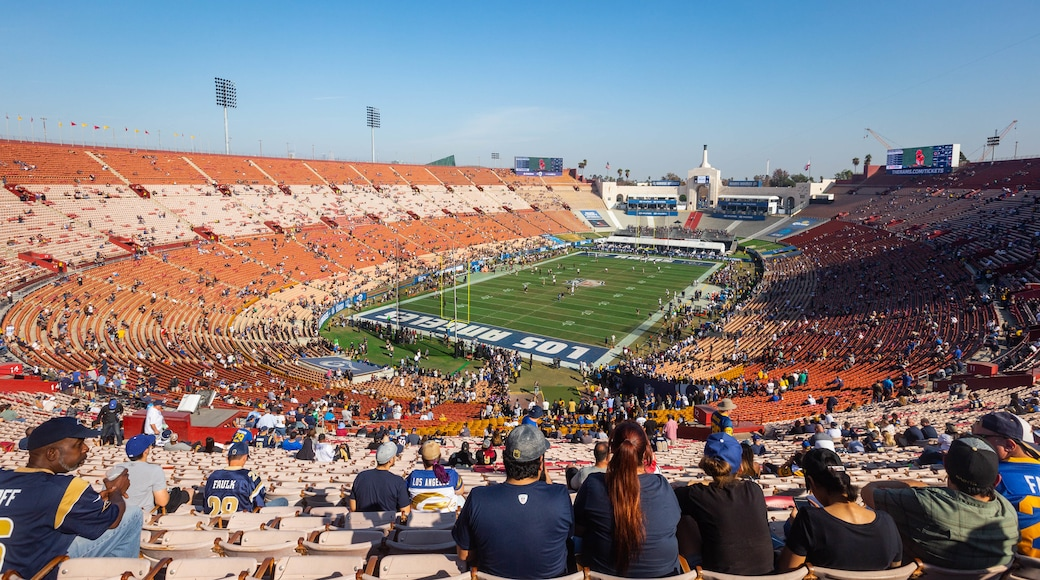 Los Angeles Memorial Coliseum as well as a large group of people