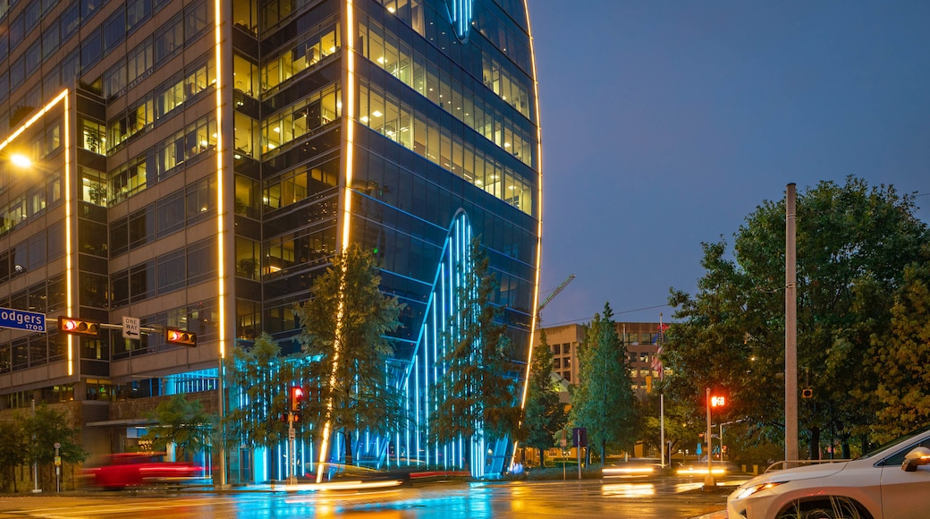 Klyde Warren Park which includes a city and night scenes