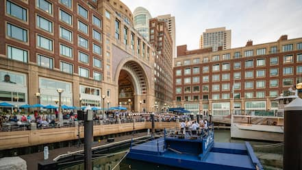 Boston Harbor which includes performance art, music and a bay or harbor
