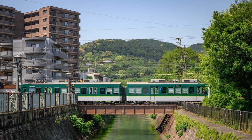 Mii-dera featuring railway items, a river or creek and a bridge