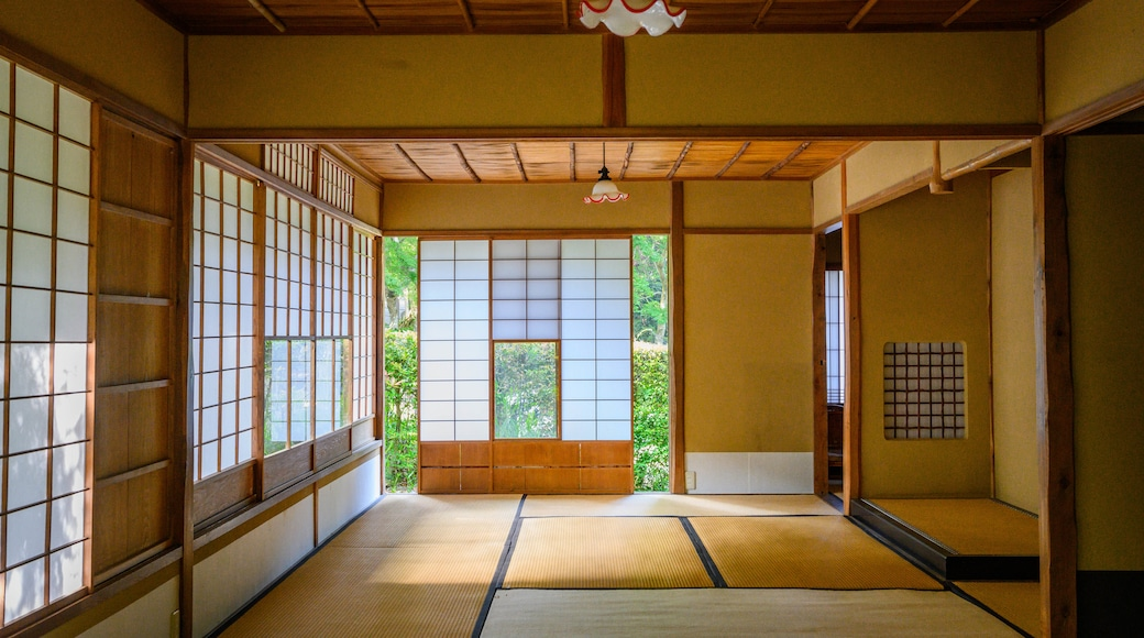 Kyu Chikurinin Garden which includes heritage elements and interior views