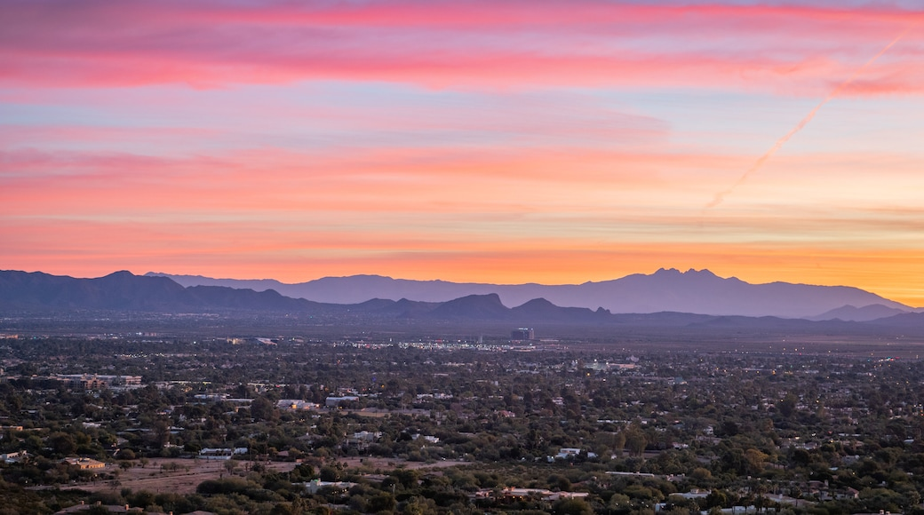 Camelback Mountain showing landscape views and a sunset