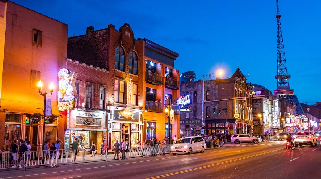 Nashville Broadway featuring night scenes, nightlife and street scenes