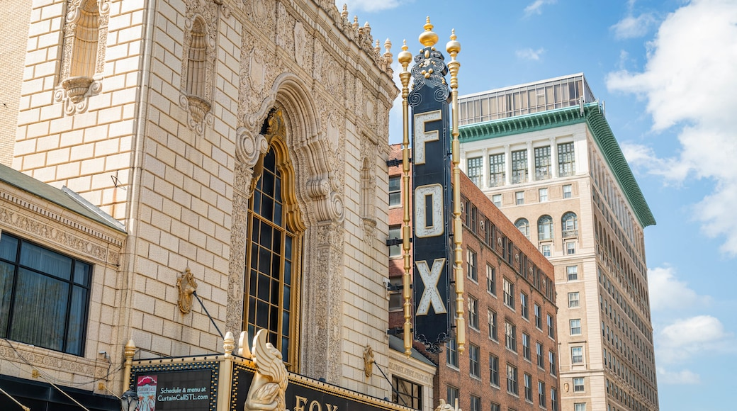 Fox Theater which includes a city and signage