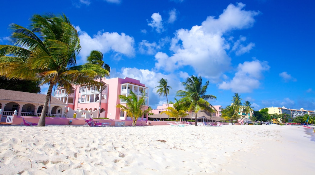 Dover Beach featuring a sandy beach, a coastal town and a luxury hotel or resort