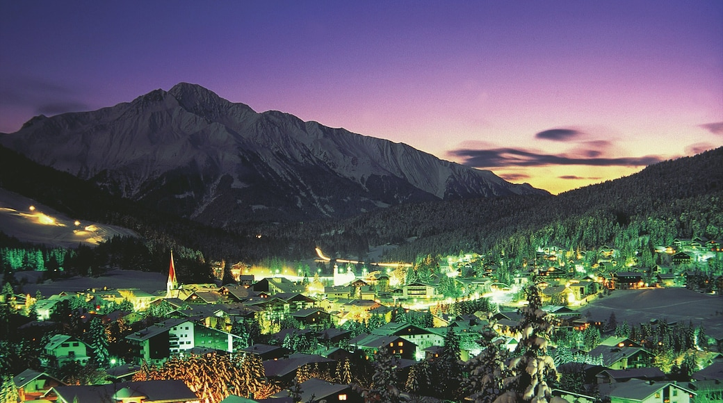 Seefeld in Tirol featuring night scenes, mountains and snow