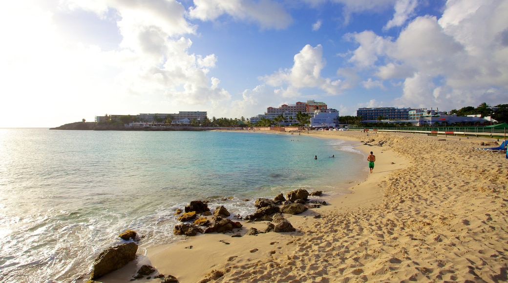 Maho Reef which includes landscape views, tropical scenes and a sandy beach
