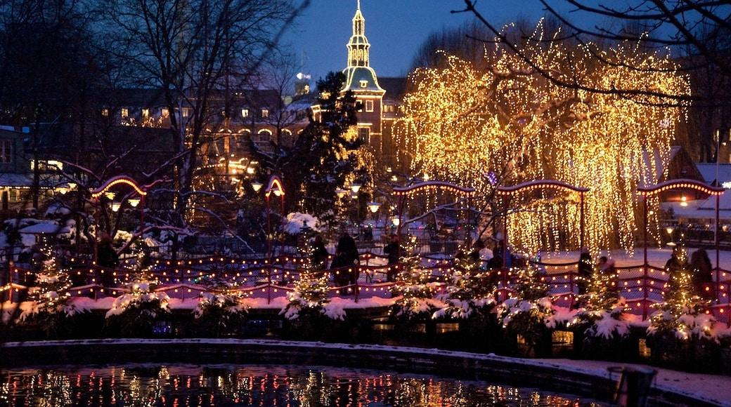 Jardins de Tivoli mettant en vedette mare, scènes de nuit et ville