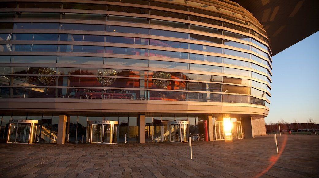 Københavns Operahus som omfatter moderne arkitektur, teaterliv og en by