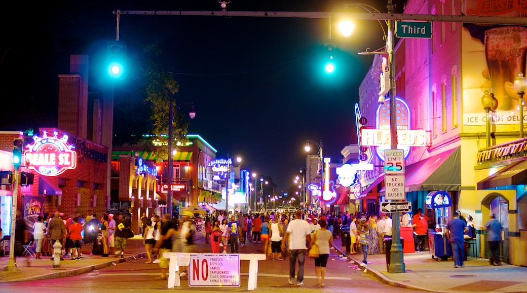 Beale Street showing nightlife, signage and night scenes