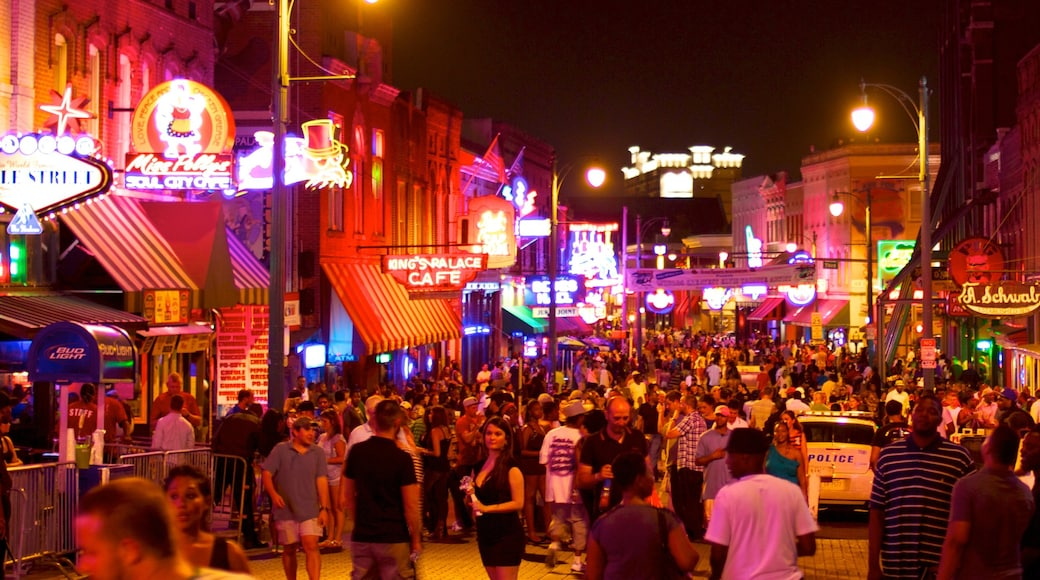 Beale Street which includes nightlife, street scenes and a city