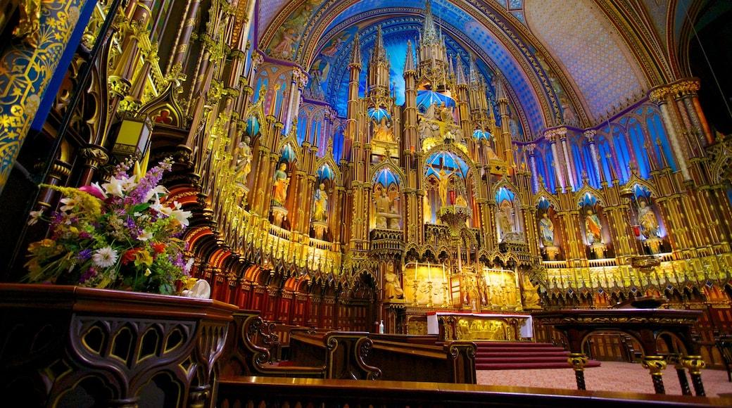 Notre Dame Basilica que incluye elementos religiosos, una iglesia o catedral y vistas interiores