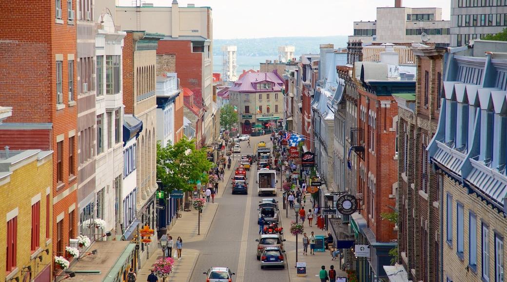 Altstadt von Québec mit einem Straßenszenen, allgemeine Küstenansicht und Stadt