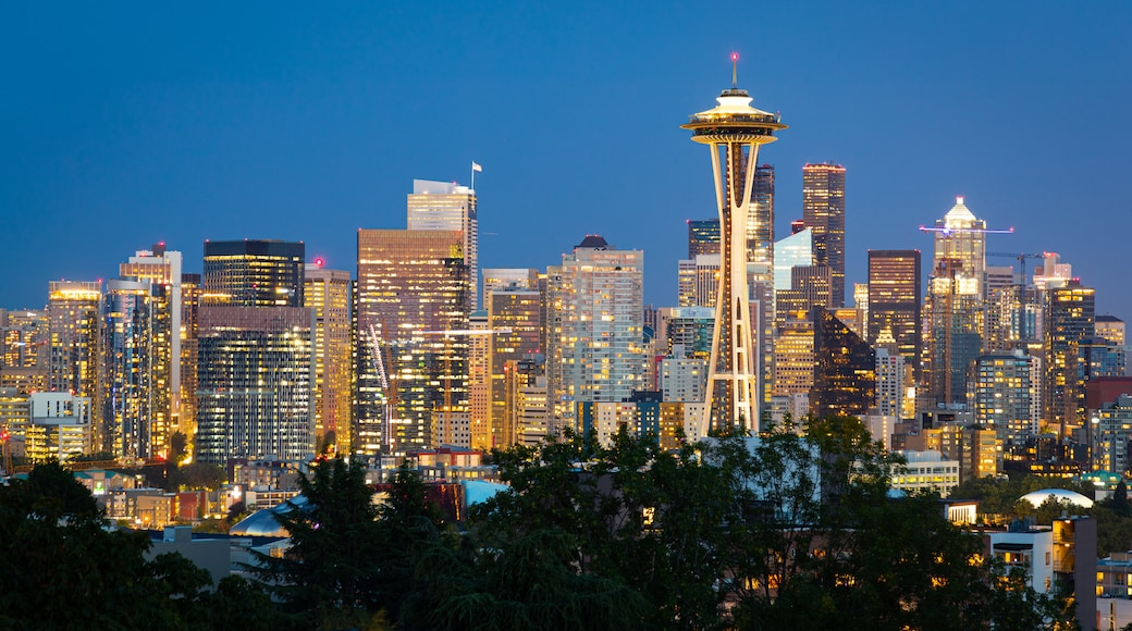 Seattle which includes landscape views, night scenes and a city