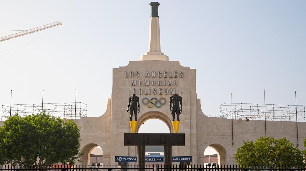 Los Angeles Memorial Coliseum featuring signage