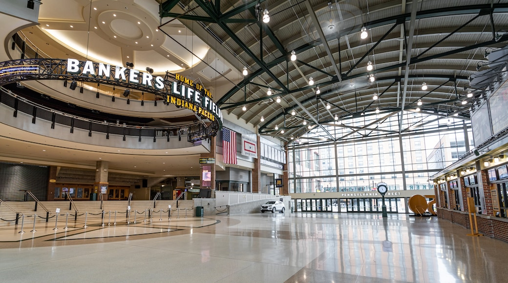 Bankers Life Fieldhouse showing interior views and signage
