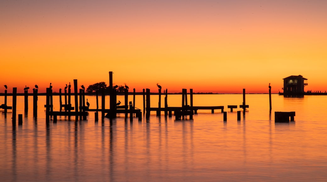 Biloxi which includes general coastal views and a sunset