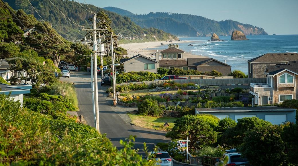 Cannon Beach which includes a coastal town