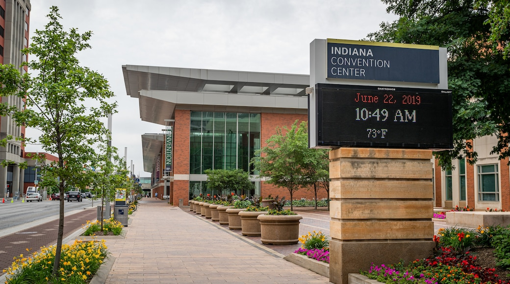 Indiana Convention Center which includes signage and flowers