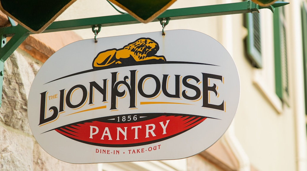 Lion House featuring signage