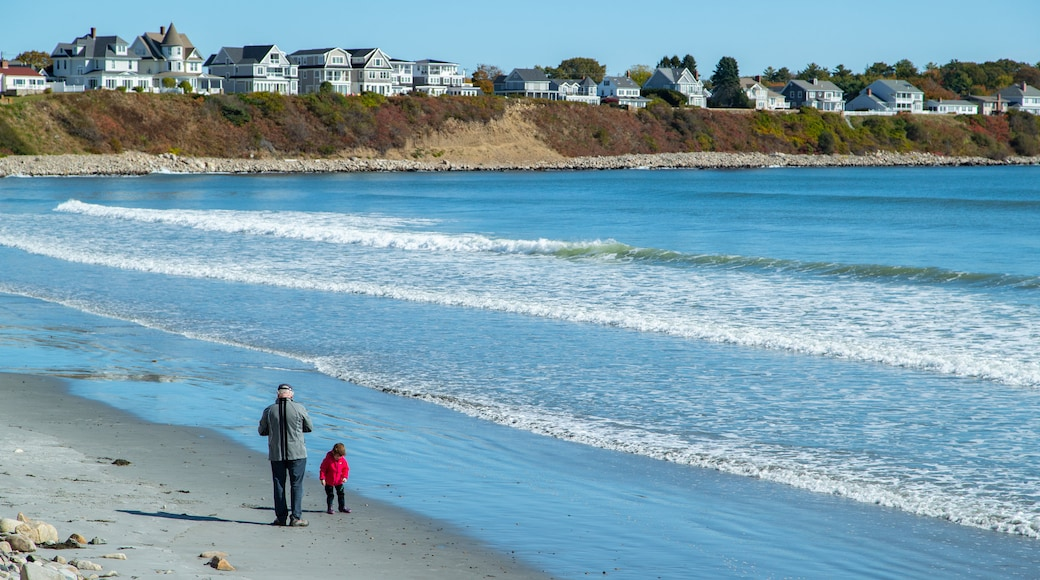 Long Sands Beach featuring general coastal views and a coastal town as well as a family