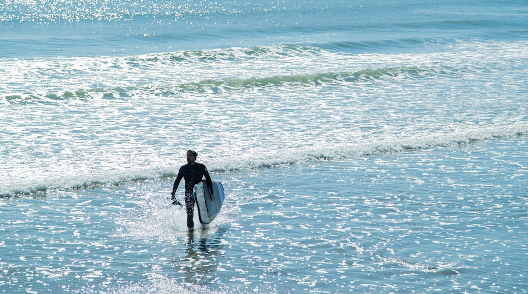 Long Sands Beach featuring general coastal views and surfing as well as an individual male