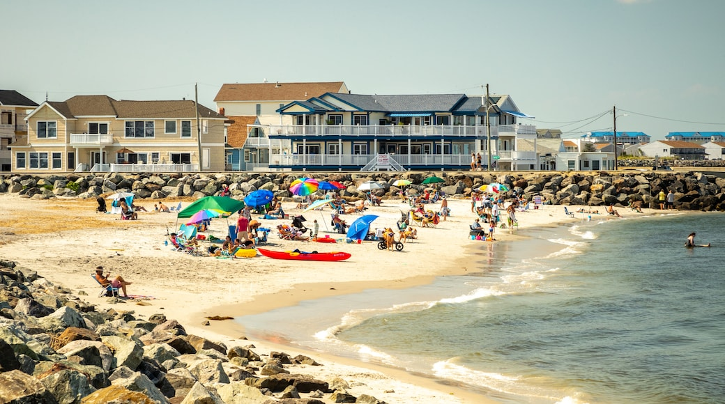 North Wildwood which includes general coastal views, a coastal town and a sandy beach