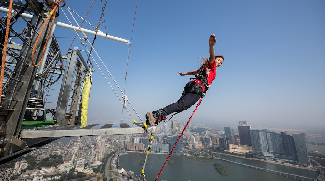 Macau Tower which includes a city and bungee jumping as well as an individual femail