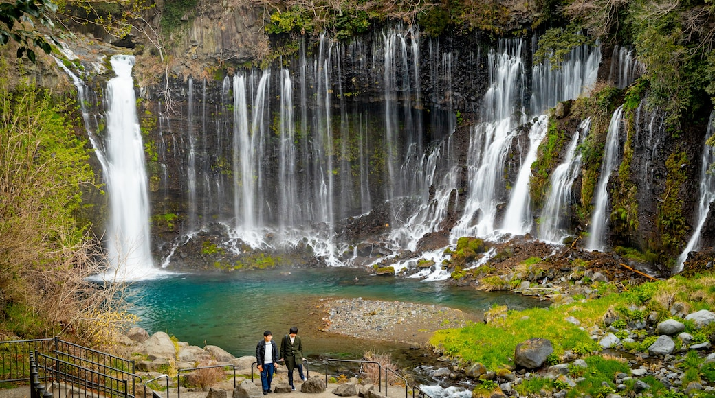 Fujinomiya featuring a waterfall as well as a couple
