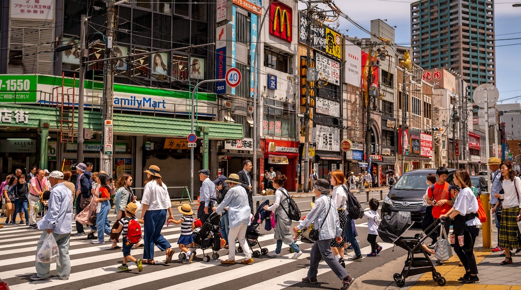 Tennoji featuring street scenes and a city as well as a large group of people