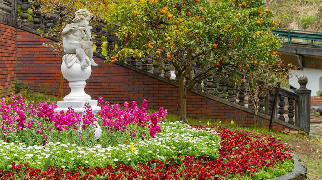 Akao Herb and Rose Garden showing a statue or sculpture, a park and wildflowers