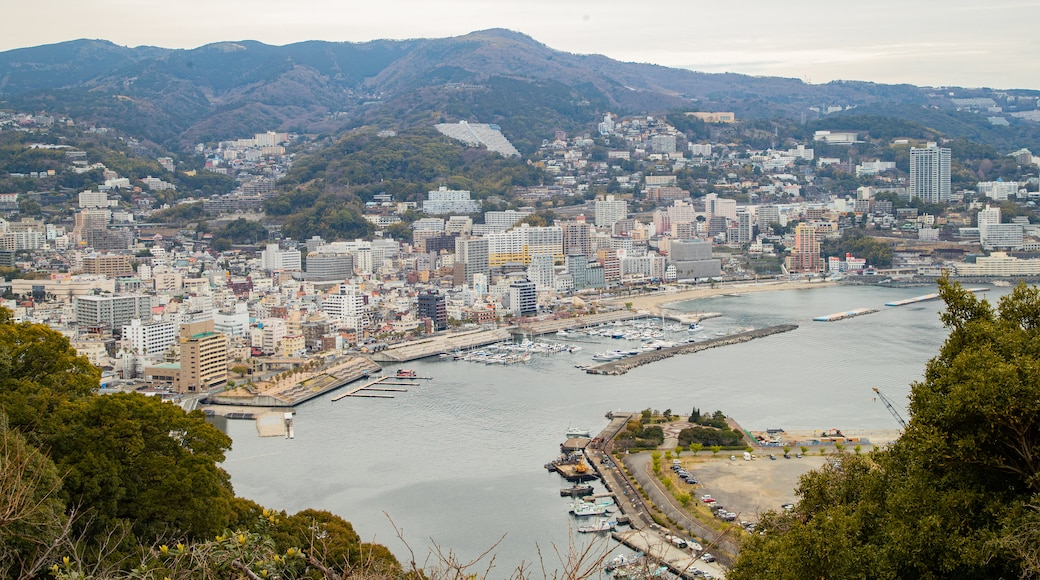 Atami Castle featuring a bay or harbor, landscape views and a city
