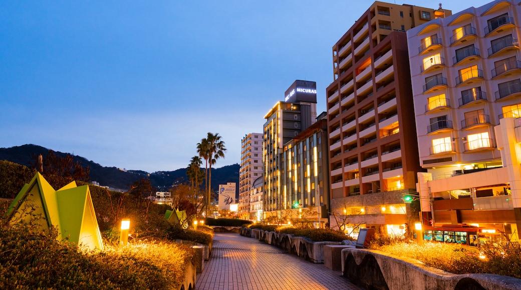 Atami Sun Beach which includes night scenes