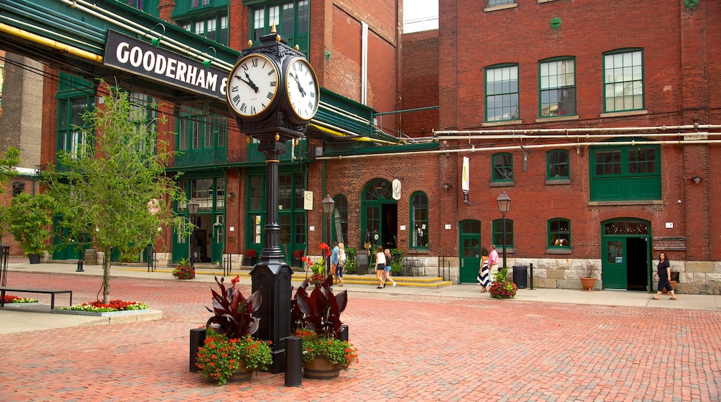 The Distillery Historic District which includes heritage architecture, a square or plaza and a city