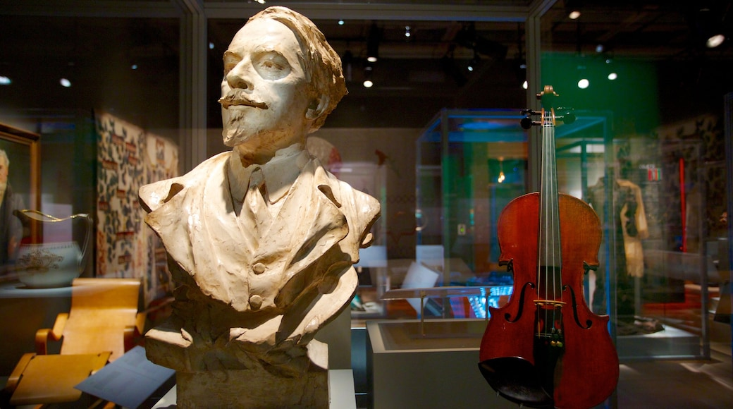 Museum of Civilization showing interior views, a statue or sculpture and music