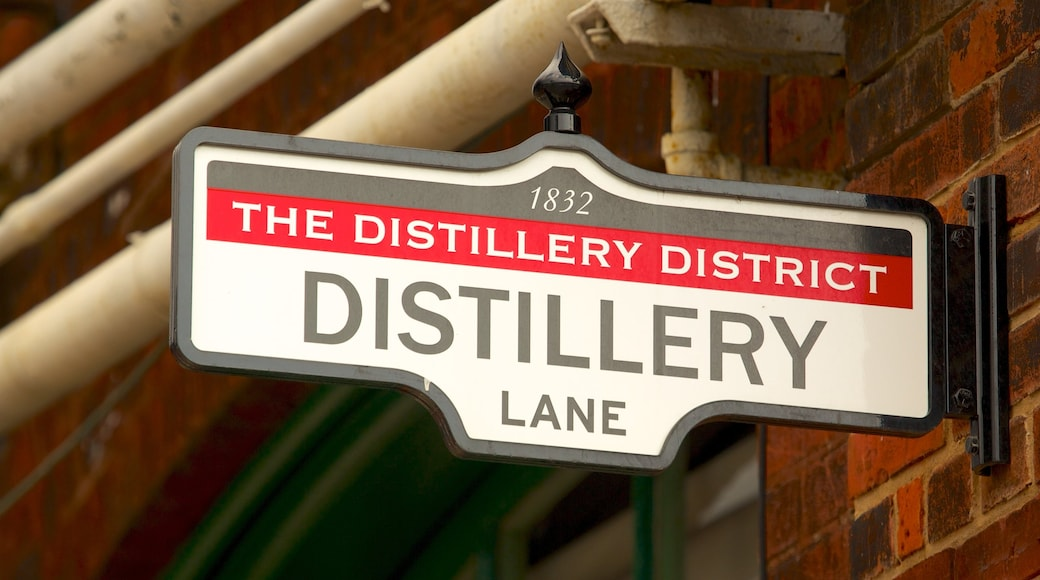 The Distillery Historic District showing signage