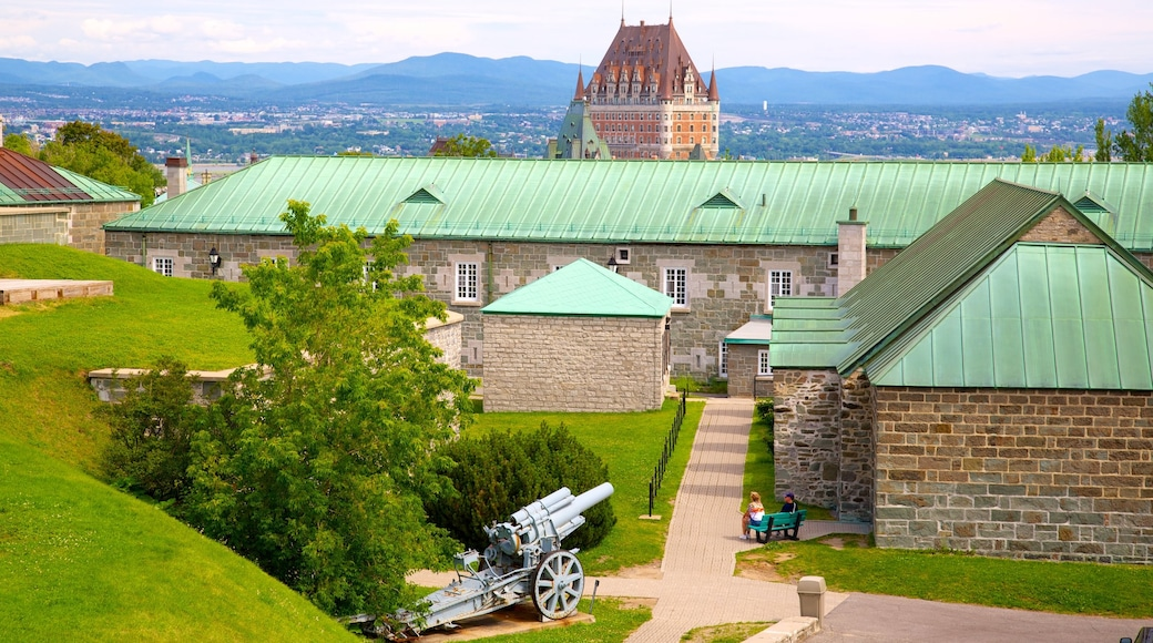 Citadelle of Quebec which includes military items, heritage elements and a castle