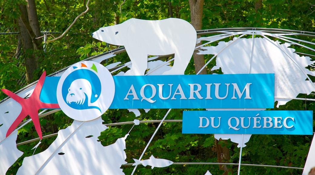 Quebec Aquarium Park which includes signage, zoo animals and marine life