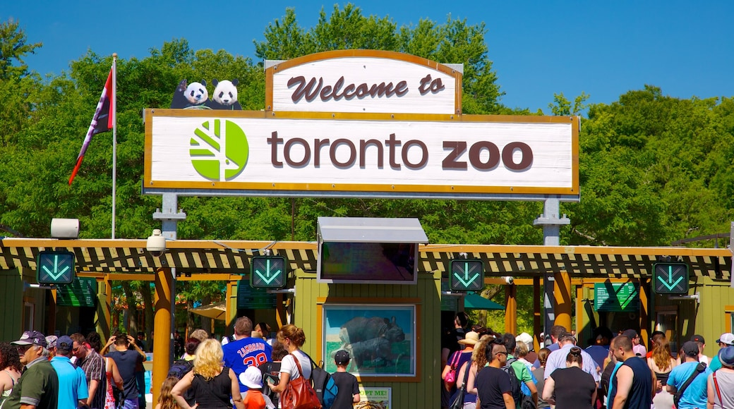 Toronto Zoo showing signage and zoo animals as well as a large group of people