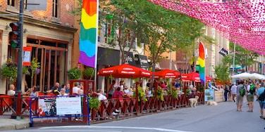 Gay Village mit einem Straßenszenen, Essen im Freien und Café-Lifestyle